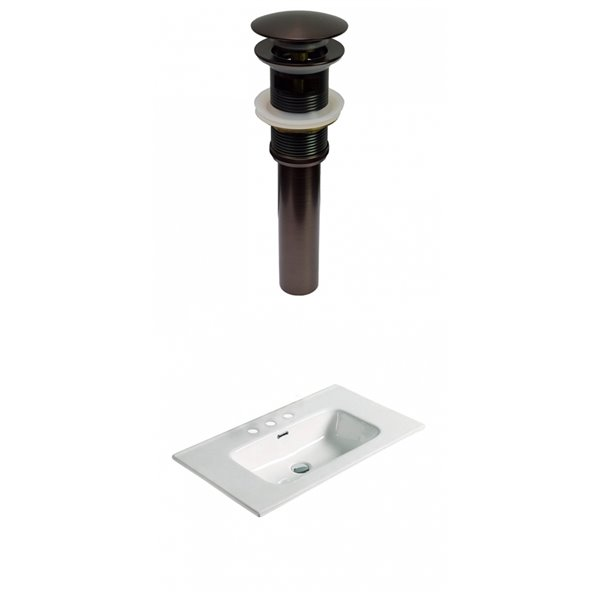Lavabo simple en argile réfractaire blanche de 24,16 po d'American Imagination et quincaillerie bronze huilé
