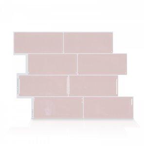 Carrelage mural en vinyle composite lustré Metro de Smart Tiles, 10 po x 11 po, rose, boîte de 4