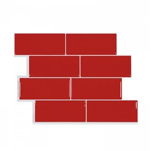 Carrelage mural en vinyle composite lustré Metro de Smart Tiles, 10 po x 11 po, rouge, boîte de 4
