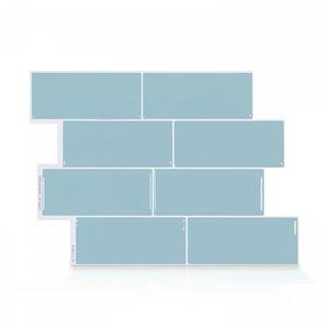 Carrelage mural en vinyle composite lustré Metro de Smart Tiles, 10 po x 11 po, bleu pâle, boîte de 4