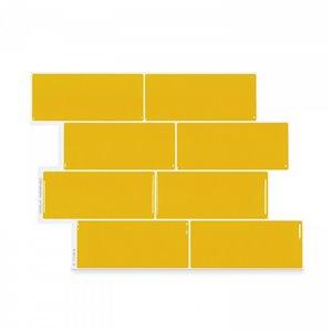 Carrelage mural en vinyle composite lustré Metro de Smart Tiles, 10 po x 11 po, jaune, boîte de 4