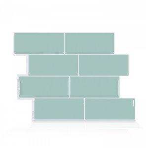 Carrelage mural en vinyle composite lustré Metro de Smart Tiles, 10 po x 12 po, écume de mer, boîte de 4