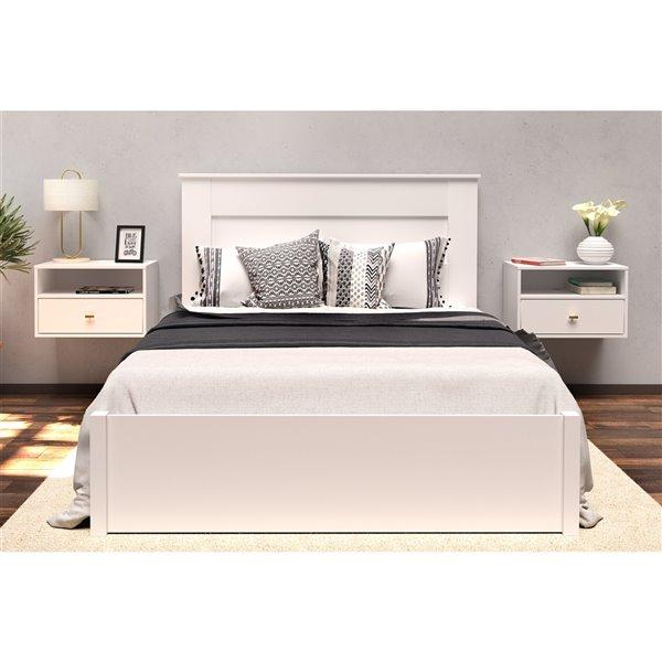 Table de nuit murale Floating Bedroom de Prepac, blanc, 2 pièces