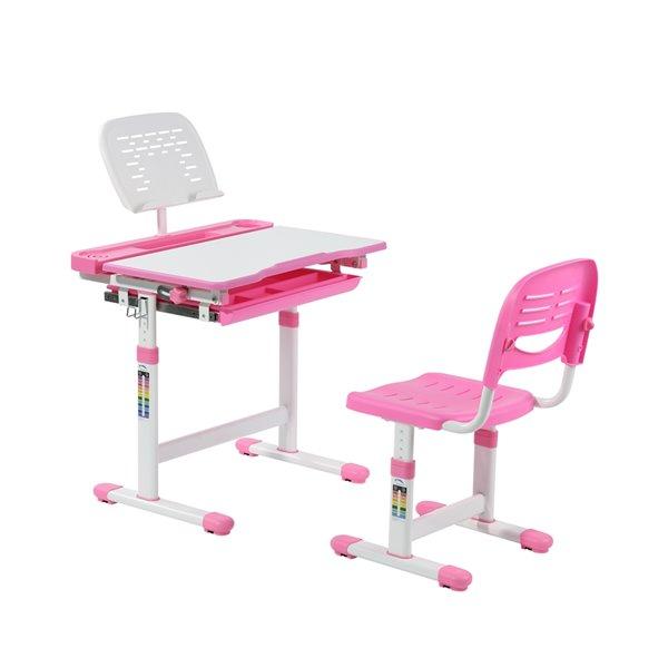 Bureau moderne/contemporain et chaise avec porte-livre et lumière DEL pour enfants Avicenna d'United Canada, 26 po, rose