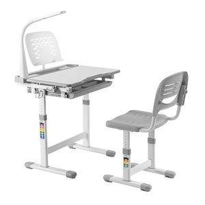 Bureau moderne/contemporain et chaise avec porte-livre et lumière DEL pour enfants Avicenna d'United Canada, 26 po, gris