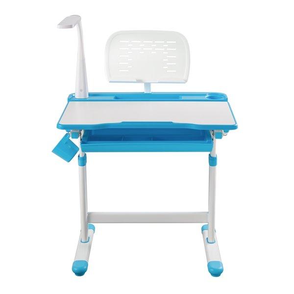 Bureau moderne/contemporain et chaise avec porte-livre et lumière DEL pour enfants Avicenna d'United Canada, 26 po, bleu