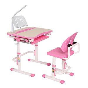 Bureau moderne/contemporain et chaise avec porte-livre et lumière DEL pour enfants Galileo d'United Canada, 26 po, rose