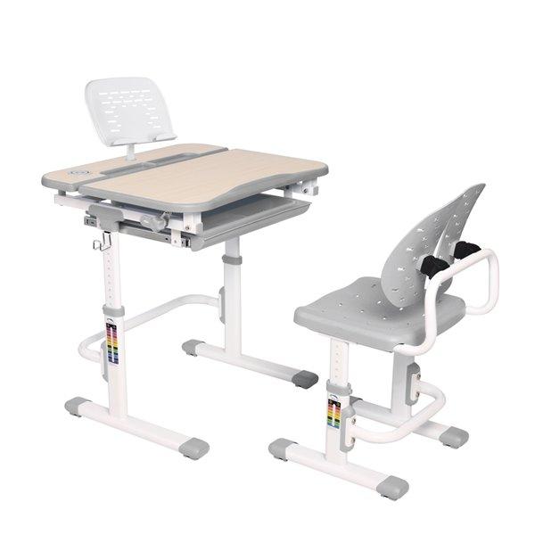 Bureau moderne/contemporain et chaise avec porte-livre et lumière DEL pour enfants Galileo d'United Canada, 27 po, gris