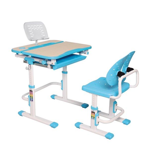 Bureau moderne/contemporain et chaise avec porte-livre et lumière DEL pour enfants Galileo d'United Canada, 27 po, bleu