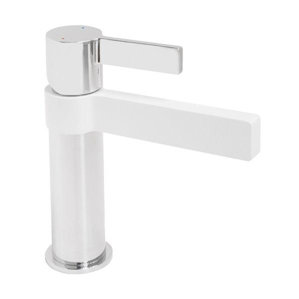 Robinet monotrou pour salle de bains Martini de Jamie J, 1 poignée, chrome et blanc mat