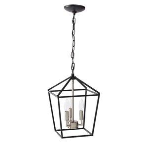 Luminaire suspendu moderne de type lanterne avec lumière incandescente par Scott Living, moyen, noir mat et nickel brossé