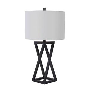 Lampe de table de 28po avec abat-jour en tissu et interrupteur à 3 voies par Scott Living, noir mat, lot de 1