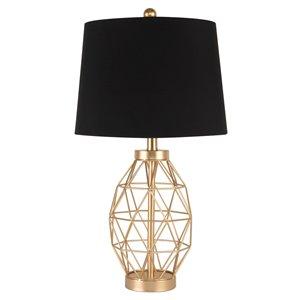Lampe de table standard de 25,5po avec abat-jour en tissu et interrupteur marche/arrêt par Scott Living, doré, lot de 1
