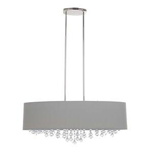 Luminaire suspendu moderne Isabella avec abat-jour et lumière incandescente par Scott Living, grand, chrome