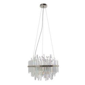 Luminaire suspendu cylindrique moderne Radley en verre et lumière incandescente par Scott Living, grand, nickel brossé