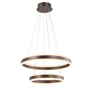 Luminaire suspendu moderne contemporain York à étages en verre givré et LED par Scott Living, grand, espresso
