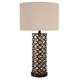 Lampe de table standard de 28po avec abat-jour en tissu et interrupteur marche/arrêt par Scott Living, noir et or, lot de 1