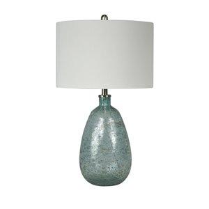 Lampe de table standard de 26po avec abat-jour en tissu et interrupteur à 3 voies par Scott Living, verre bleu et nickel bros