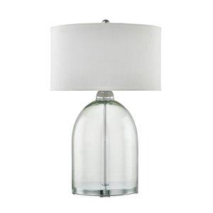 Lampe de table standard de 24,75po avec abat-jour en tissu et interrupteur marche/arrêt par Scott Living, nickel brossé/verr