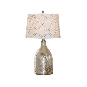 Lampe de table standard de 27po avec abat-jour en tissu et interrupteur à 3 voies par Scott Living, argent, lot de 1