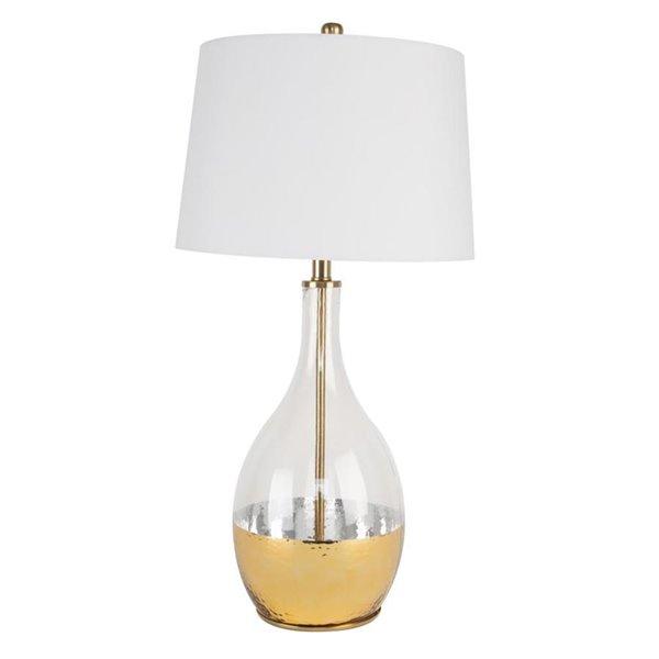 Lampe de table de 28po avec abat-jour en tissu et interrupteur marche/arrêt par Scott Living, doré, lot de 1
