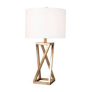 Lampe de table standard de 27,5po avec abat-jour en tissu et interrupteur à 3 voies par Scott Living, or, lot de 1