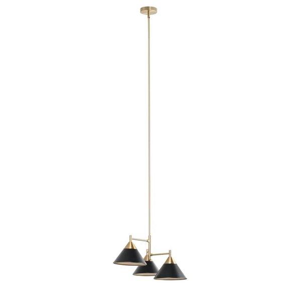Luminaire suspendu moderne Alton de forme conique et lumière incandescente par Scott Living, moyen, noir mat et doré