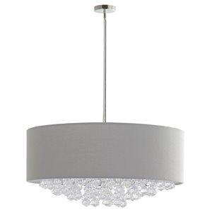 Luminaire suspendu moderne contemporain Isabella avec abat-jour et lumière incandescente par Scott Living, moyen, chrome