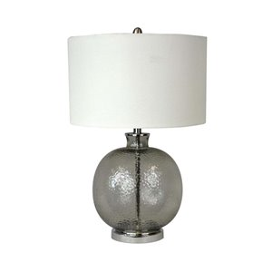 Lampe de table standard de 26po avec abat-jour en tissu et interrupteur à 3 voies par Scott Living, verre fumé et nickel bro