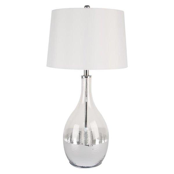 Lampe de table de 28po avec abat-jour en tissu et interrupteur marche/arrêt par Scott Living, chrome, lot de 1
