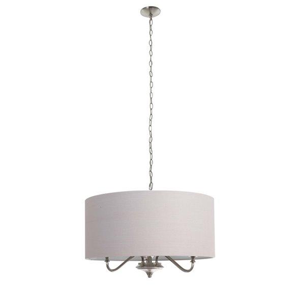 Luminaire suspendu moderne Kerry avec abat-jour et lumière incandescente par Scott Living, moyen, nickel brossé