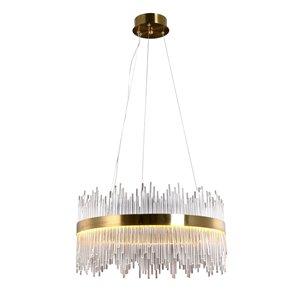 Luminaire suspendu cylindrique moderne contemporain Marion avec abat-jour en verre et LED par Scott Living, doré