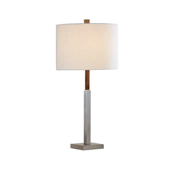 Lampe de table standard de 28po avec abat-jour en tissu et interrupteur à 3 voies par Scott Living, nickel brossé, lot de 1
