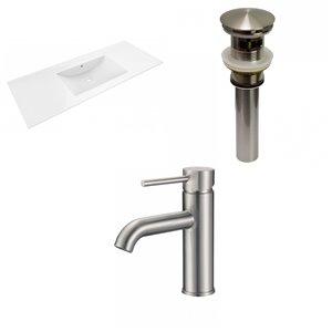 American Imaginations Alum 48-in Fire Clay Enamel Glaze Single Sink Bathroom Vanity Top