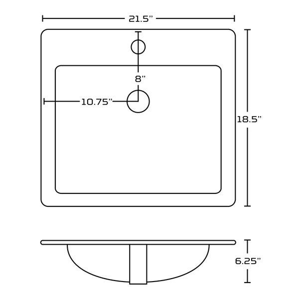 Dessus de meuble-lavabo simple rectangulaire en argile réfractaire émaillée de 21,5 po d'American Imaginations