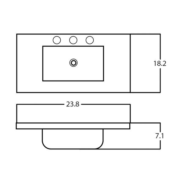 Dessus de meuble-lavabo simple rectangulaire en céramique émaillée de 23,8 po d'American Imaginations