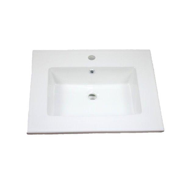 Dessus pour meuble-lavabo simple en argile réfractaire émaillée Flair par American Imaginations de 25 po
