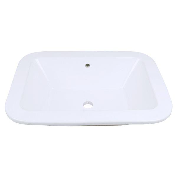 Lavabo de salle de bains rectangulaire en céramique blanche d'American Imaginations, bonde de vidange incluse (16 po x 21,75 po