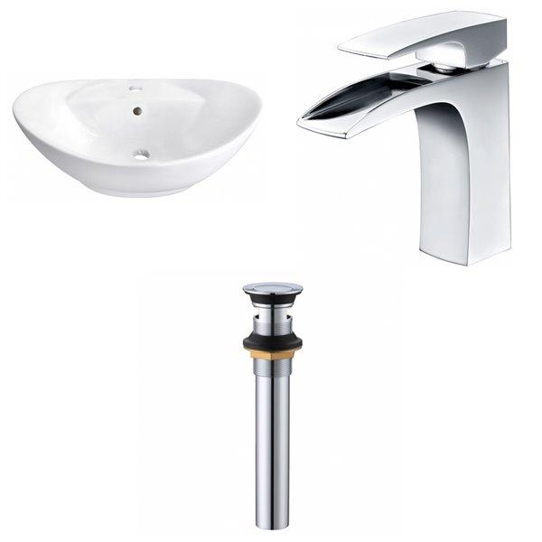 Vasque ovale en céramique blanche de salle de bains d'American Imaginations, robinet/bonde de vidange inclus (15,25 po x 23 po)