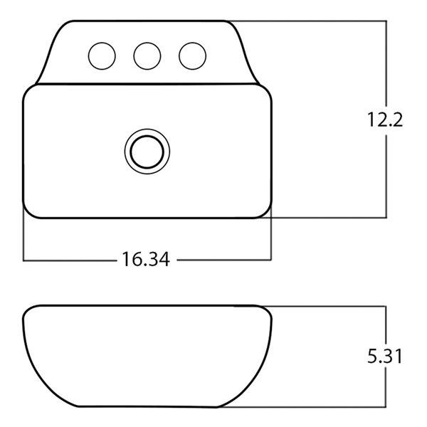 Vasque rectangulaire en céramique blanche d'American Imaginations avec bonde de vidange (12,2 po x 16,34 po)