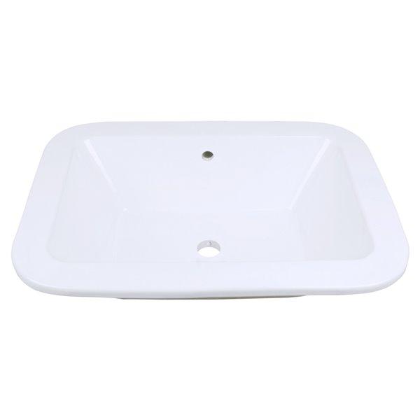 Lavabo rectangulaire à encastrer en céramique blanche d'American Imaginations avec bonde de vidange (16 po x 21,75 po)