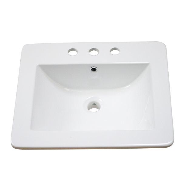 Lavabo simple rectangulaire en céramique émaillée Vee d'American Imaginations de 21 po