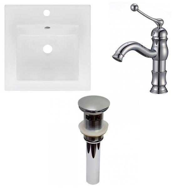 Lavabo carré pour salle de bain en argile réfractaire d'American Imaginations de 16,5 po