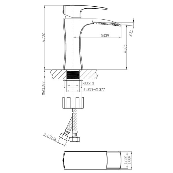Vasque rectangulaire en céramique blanche d'American Imaginations avec robinet et bonde de vidange (16,25 po x 19,5 po)
