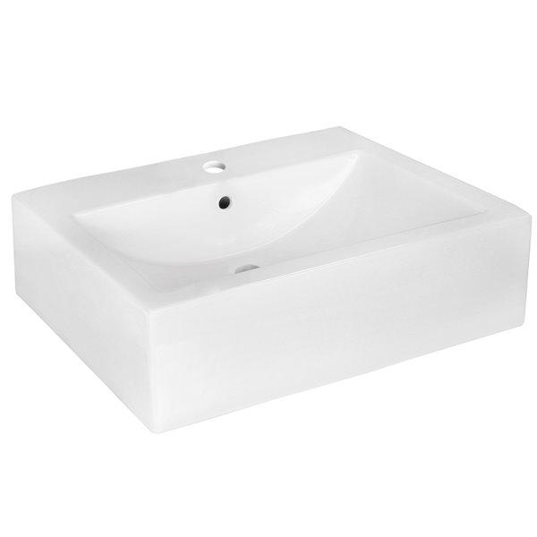 Lavabo rectangulaire d'American Imaginations en céramique blanche avec drain de trop-plein inclus (16,25 po x 20,25 po)