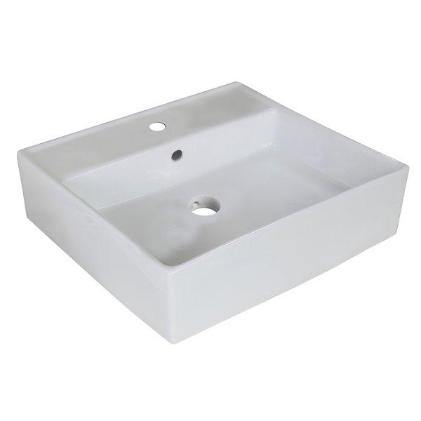 Lavabo carré d'American Imagination en céramique blanche - Drain de trop-plein inclus (18 po x 18 po)