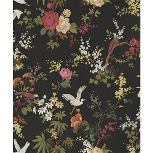 Walls Republic Fiore 57-sq. ft. Black Non-Woven Paintable Textured Floral Unpasted Paste-the-Wall Wallpaper