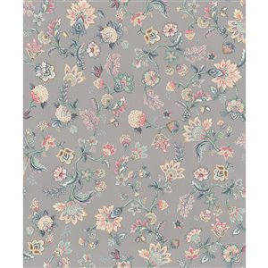 Walls Republic Fiore 57-sq. ft. Grey Non-Woven Paintable Textured Floral Unpasted Wallpaper