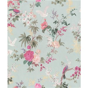 Walls Republic Fiore 57-sq. ft. Blue Non-Woven Paintable Textured Floral Paste-the-Wall Wallpaper