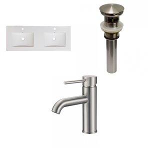 American Imaginations Xena Enamel Glaze Fire clay Double sink Bathroom Vanity Top (48-in)  - Brushed Nickel Hardware